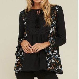 Black & Floral Lace Trim Top